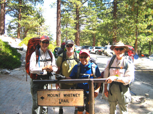 At the Mt. Whitney Trailhead, shown from the left: Ike Krieg, Dennis Kazee, Rob Fong and Bill Kirk.